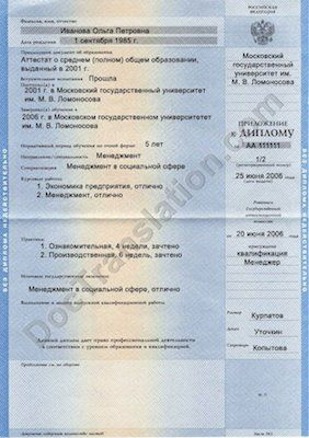 Supplement To Russian Diploma Certified Translation Services