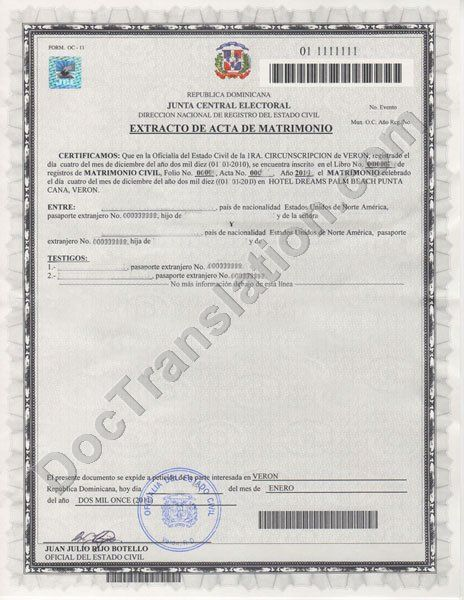 Certified translation of dominican republic marriage certificate certified spanish marriage certificate translation from dominican republic extracto de acta de matrimonio yelopaper Image collections