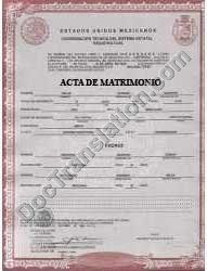 certified spanish translation of mexican marriage certificate acta de matrimonio
