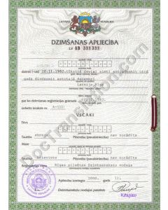 Birth Certificate - Latvia