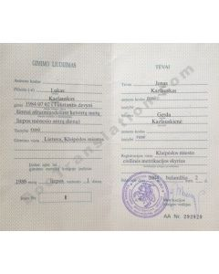 Birth Certificate - Lithuania