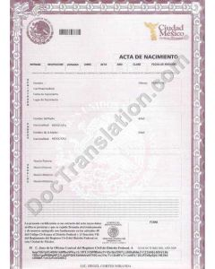 Birth Certificate - Mexico