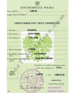 Birth Certificate - Poland