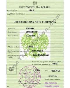 Birth Certificate - Poland
