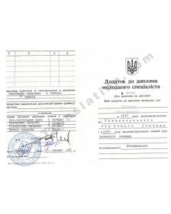 Supplement to Technicum Diploma - Ukraine