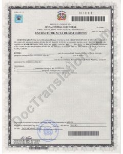 Marriage Certificate - Dominican Republic