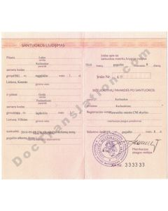 Marriage Certificate - Lithuania