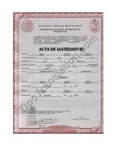 Marriage Certificate - Mexico