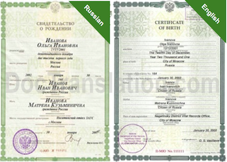 1995 certified translation services for russian and ukrainian sample of certified russian translation of birth certificate from russia yadclub Images