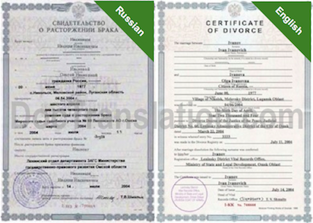 Sample of Certified Russian Translation of Divorce Certificate from Russia