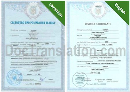 Sample of Certified Ukrainian Translation of Divorce Certificate from Ukraine