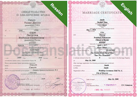 Sample of Certified Russian Translation of Marriage Certificate from Russia