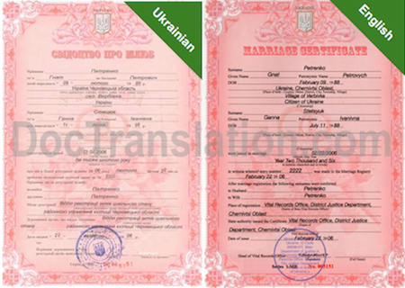 Sample of Certified Ukrainian Translation of Marriage Certificate from Ukraine